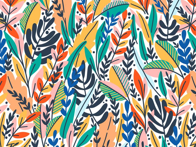 Leaves pattern flower rainforest exotic bloom leaves summer spring leaf floral vector seamless pattern