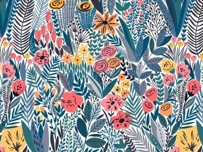 Flowering seamless pattern illustration bloom wildflower for sale design background garden nature exotic blossom leaves summer spring floral flower vector seamless pattern