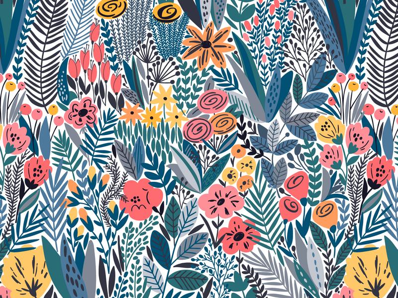 Exotic flower pattern wildflower for sale design background garden nature exotic blossom leaves summer spring floral flower vector seamless pattern