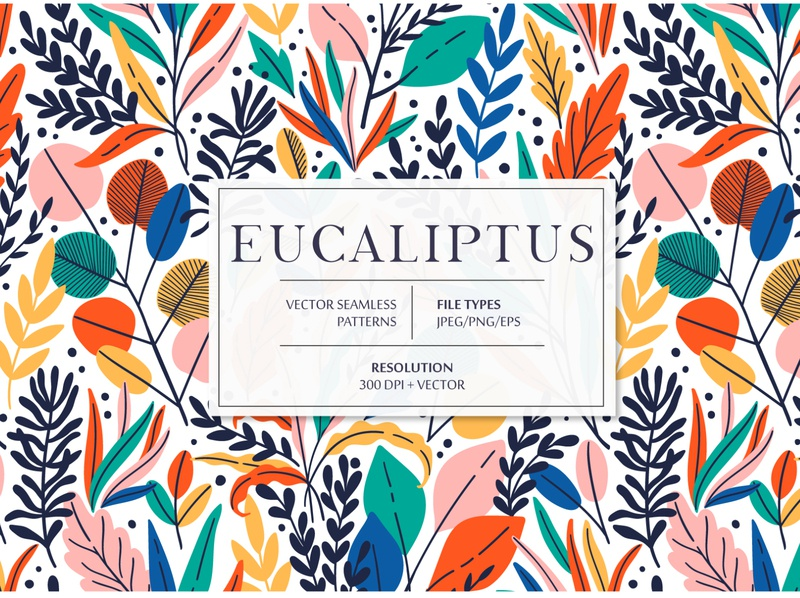 EUCALIPTUS seamless pattern branch eucalyptus rainforest exotic tropical tropic jungle leaves summer spring leaf floral flower vector seamless pattern