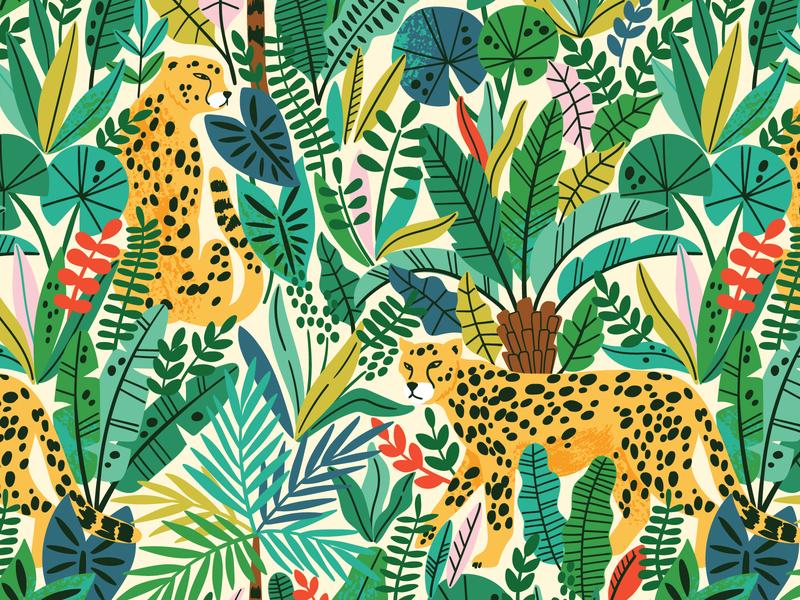 Cheetah seamless pattern safari illustration digital art digital rainforest jungle tropical tropic exotic animal wild wildlife cheetah branding leaf design leaves vector seamless pattern