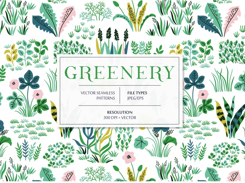 Greenery seamless pattern for sale graphic design digital herbarium herb leaf field grass greenery spring leaves bloom blossom summer floral flower vector seamless pattern