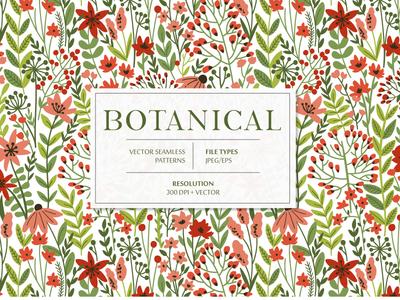 Botanical seamless pattern digital background for sale wildflower wild leaves leaf bloom blossom summer spring floral flower vector seamless pattern