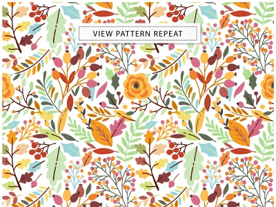 Autumn flowers and berries. Fall Chic exotic print design textile fall autumn leaves leaf floral flower vector seamless pattern