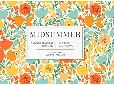MIDSUMMER seamless pattern surface fabric exotic summer blossom bloom design floral flower vector seamless pattern