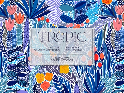 TROPIC seamless pattern print digital illustrations nature rainforest jungle tropical tropic exotic leaves summer spring leaf illustration floral flower vector seamless pattern