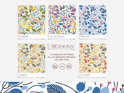 SEASONS vector seamless pattern surface pattern surface design seasons season design fall autumn winter bloom blossom leaves summer spring floral flower vector seamless pattern