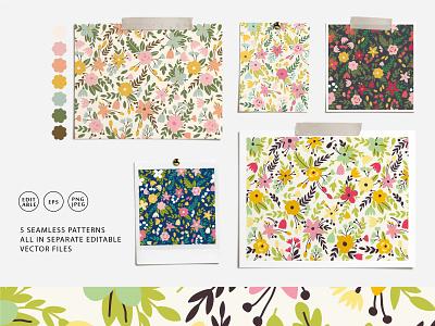 BLOSSOM seamless pattern florish nature design spring bloom blossom summer vector floral flower seamless pattern