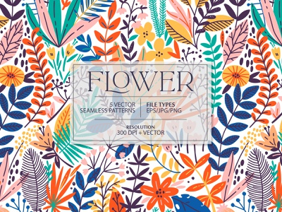 FLOWER seamless pattern surface design jungle rainforest bright colorful tropical tropic exotic blossom leaves summer spring illustration floral flower vector seamless pattern