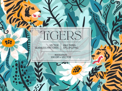 TIGERS seamless pattern tropical tropic rainforest blossom jungle tiger animal design exotic illustration floral flower vector seamless pattern