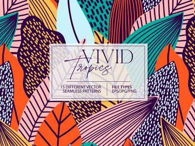 VIVID TROPICS 15 vector seamless patterns for sale surface colorful color bright exotic jungle tropic tropical floral design leaf illustration vector seamless pattern
