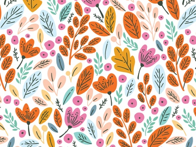 Autumn flower and leaves colorful leaves leaf spring autumn blossom bloom flower floral pattern seamless vector