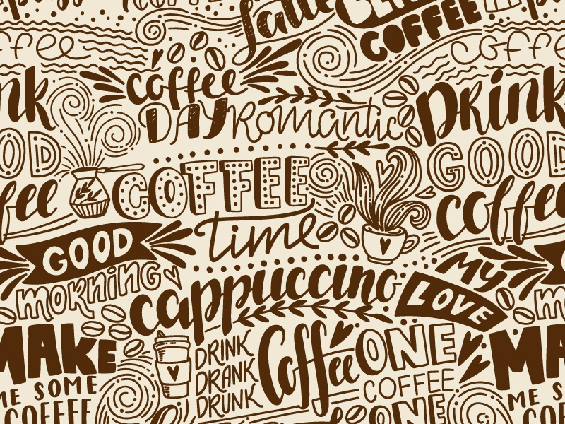 Coffee pattern phrase pattern seamless illustration quores hand draw vector lettering cafe coffee