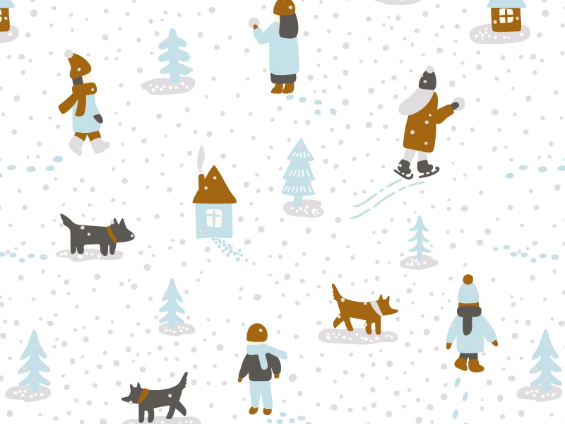 Winter illustration vector people christmas xmas snaw pattern seamless winter