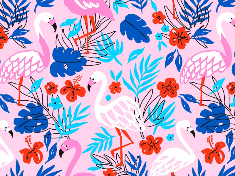 Exotic flamingo pattern monstera bird leaf pattern seamless flamingo exotic
