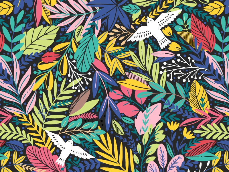 A dream in a summer night summer jungle textile spring exotic blossom pattern seamless bird leaves leaf