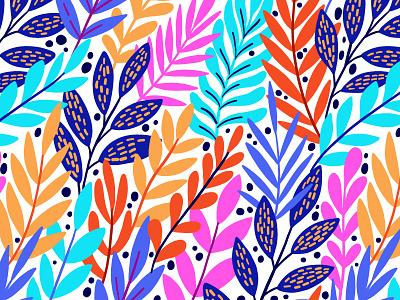Color and bright leaves summer bloom colorful jungle rainforest design illustration blossom exotic leaves spring leaf floral flower vector seamless pattern