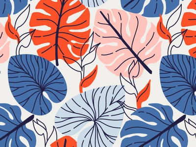Monstera leaves background design monstera jungle exotic illustration leaves leaf floral vector seamless pattern