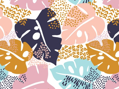 Monstera pattern nature print textile background rainforest monstera design exotic leaves summer spring leaf illustration floral flower vector seamless pattern