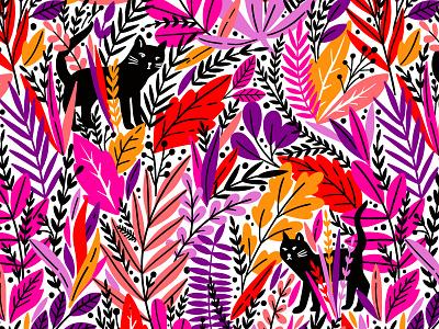 Exotic pattern with black cat rainforest textile pink autumn nature design exotic bloom leaves blossom summer spring leaf illustration floral flower vector seamless pattern cat