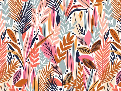 Sunset Garden jungle garden tropic pink autumn nature design exotic bloom leaves blossom summer spring leaf illustration floral flower vector seamless pattern