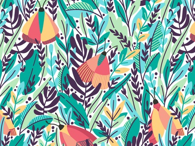 Butterflies in my garden butterflies leaves nature exotic butterfly blossom summer spring leaf illustration floral flower vector seamless pattern