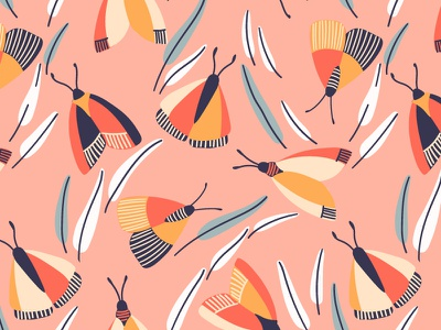 Butterflies textile design flying insect butterfly summer spring vector seamless pattern