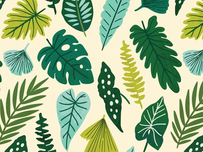 Exotic leaves pattern tropical greenhouse monstera rainforest exotic design leaves summer spring leaf floral flower vector seamless pattern
