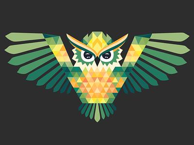 Polygonal Owl illustration flat flatdesign vector geometric animal polygonal owl