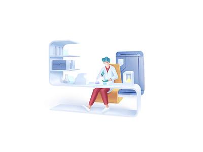 Healthcare series: Laboratory researcher biochemistry medical diagnostic pharmacy analyzing lab science research laboratory hospital care health doctor clinic speedart illustration 2.5d