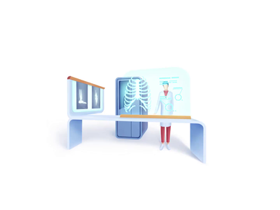 Healthcare series: Radiographer analyzing radiology medical exam diagnostics ray diagnostic scan x-ray medicine medical science hospital clinic care health doctor speedart illustration 2.5d