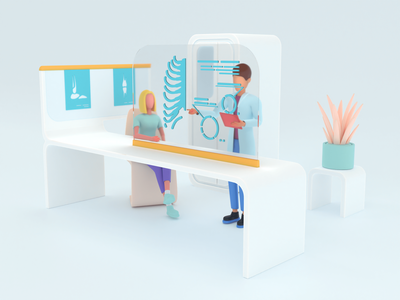 Healthcare series: Radiographer 3D v2 x-ray render 3d hospital medical care care doctor white clean diagnostic health clinic healthcare medical exam