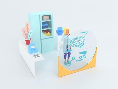 Healthcare series: Neurologist 3D render 3d medicine diagnostic medical science hospital care clinic health doctor illustration