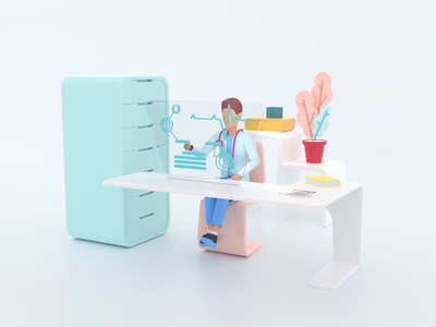 Healthcare series: Cardiologist 3D illustration render 3d pharmacy analyzing diagnostic medicine science hospital care clinic health doctor