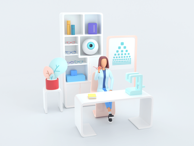 Healthcare series: Ophthalmologist 3D render illustration analyzing 3d medicine diagnostic science clinic health doctor