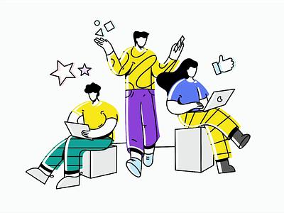 Dev & Design: Projects feedback teammates team success brainstorm ideas projects lineart speedart illustration