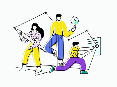 Dev & Design: Services teamwork team art direction artist web design web development people lineart services speedart illustration