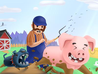 Sparkle Piglet - Bomberman based Casual Mobile Game nature animals dog farm farmer enemies thinking action adventure piglet pig art mobile sparkle piglet casual games mobile games games