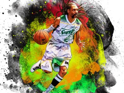 Alley-Snoop-a-Loop hip hop snoop watercolor sports basketball digital art portrait