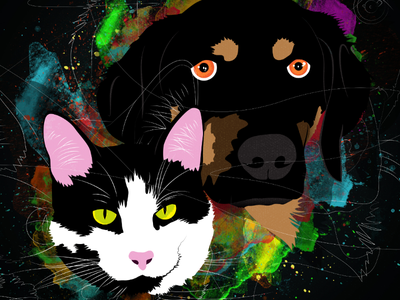 Maya and Leo vector portrait pet digital painting photoshop illustrator