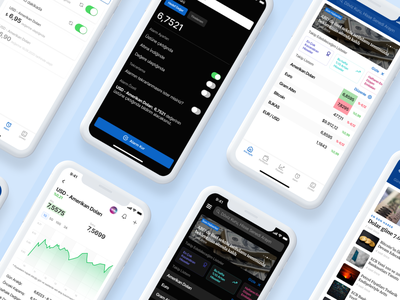 Doviz – Mobile Screens design fintech ios figma mobile ui ux finance app finance cards