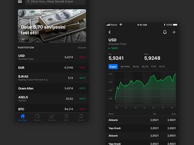 Doviz Dark Mode ios design ux ui finance mobile ios dark theme dark