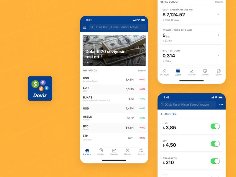 Doviz - Mobile Product Design fintech finance app finance ui ios design mobile ios design ux