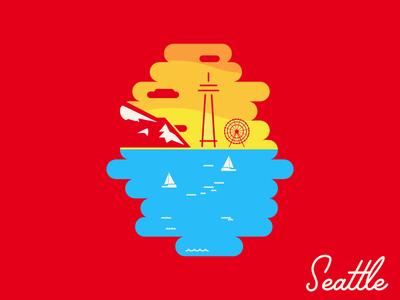Seattle Summer Sky shirt great wheel mt rainier space needle moz abe schmidt skyline sky summer seattle