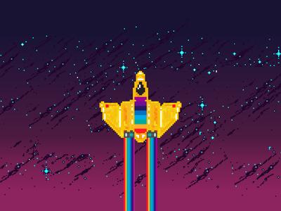 Daft Punk Guy-Manuel Pixel Space Ship space guy manuel abe schmidt guy-manuel space ship 8bit pixel art daft punk