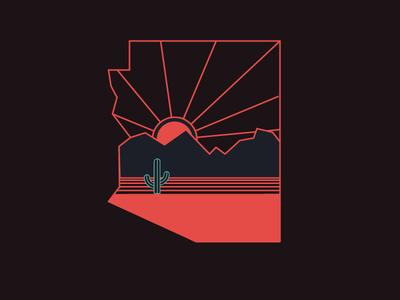 Arizona Nights illustratio lines shirt tshirt design abe schmidt sunset phoenix desert cactus arizona az