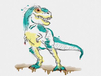 Watercolor T. Rex t. rex dinosaur watercolor seattle abe schmidt trex t rex t-rex tyrannosaurus rex