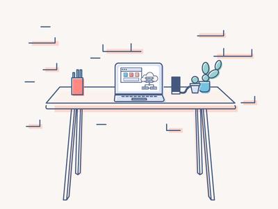 A Desktop Illustration workspace cactus desk desktop