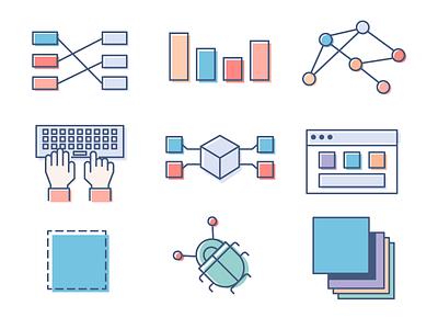 Illustration Library- Sample tech design tech illustration flat icons