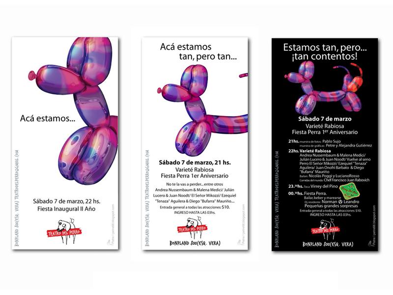 e-Flyers for the Teatro del Perro Inaugural Party party theatre dog graphic design digital color illustration
